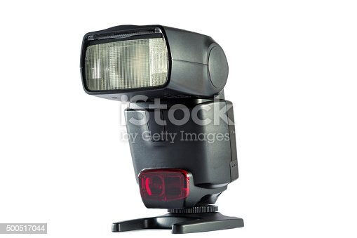 camera flash on stand in isolated white background