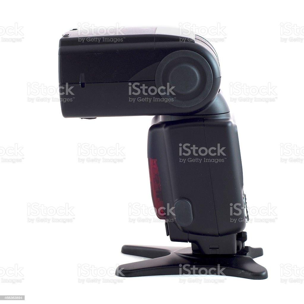 Camera flash on the white background stock photo