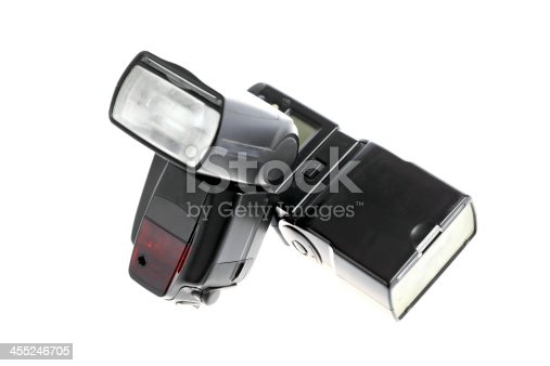 Picture of an external photo camera flash isolated on white