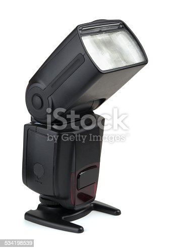 Camera flash on a white background