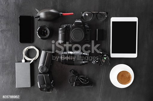 istock camera gear device set on dark background 825788952