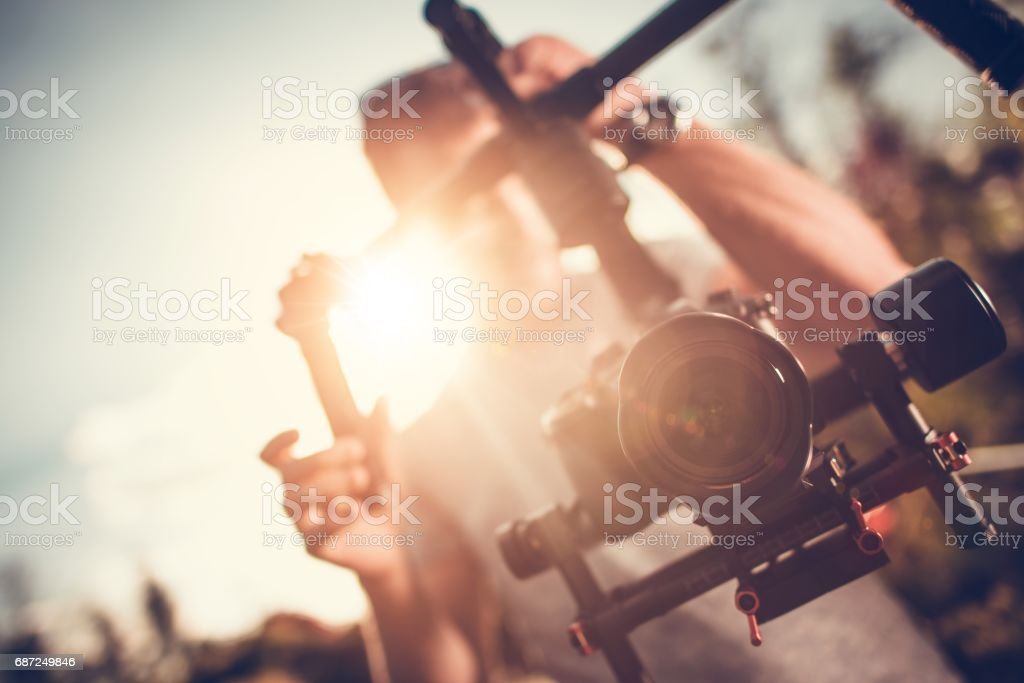 Camera Gimbal DSLR Video stock photo