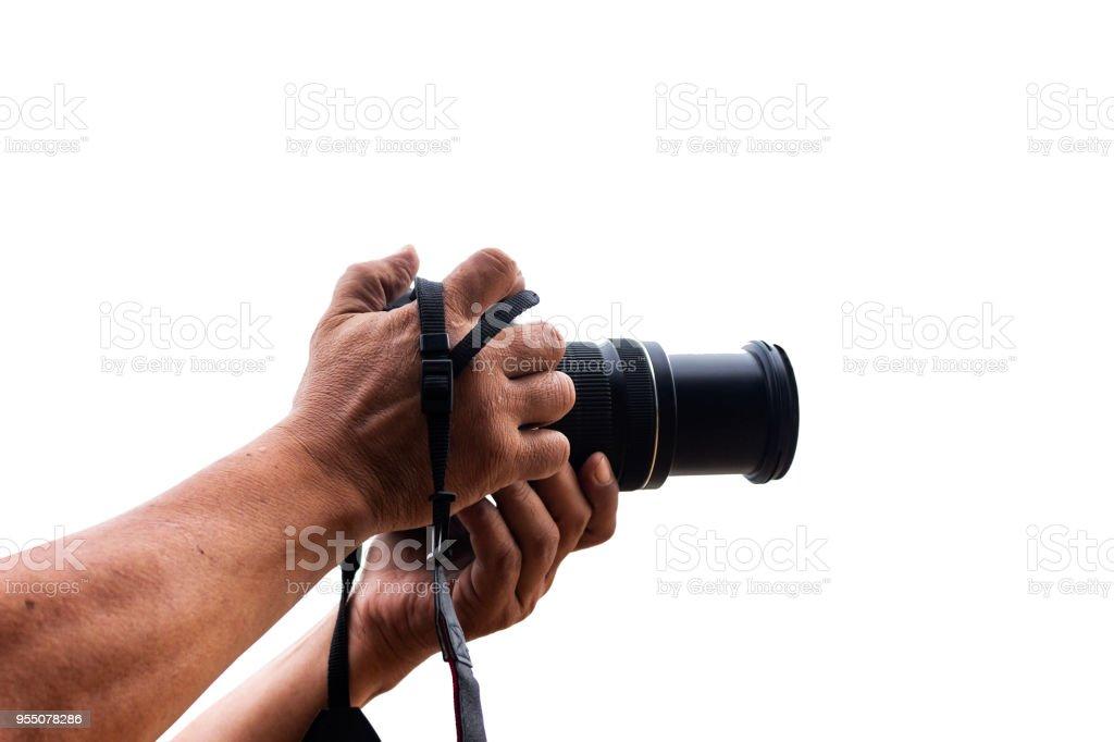 camera in hand stock photo