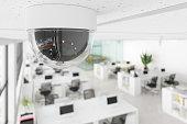 istock CCTV Camera In Open Plan Blurry Office. 1301521723