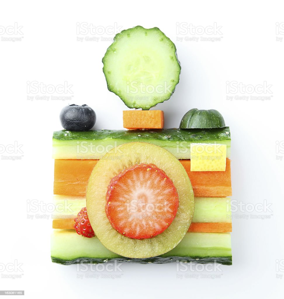 camera  in vegetable and fruit style stock photo