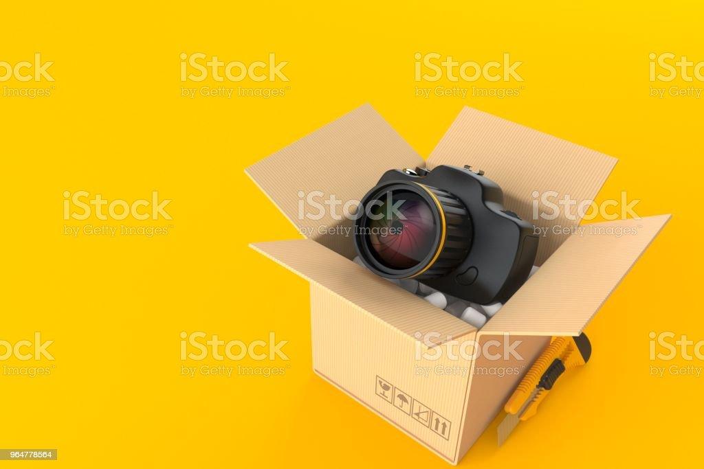 Camera inside cardboard box royalty-free stock photo