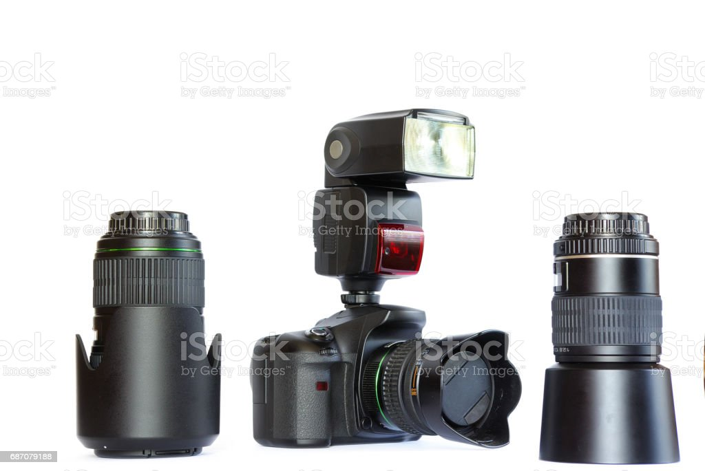 camera isolated on white background Lizenzfreies stock-foto