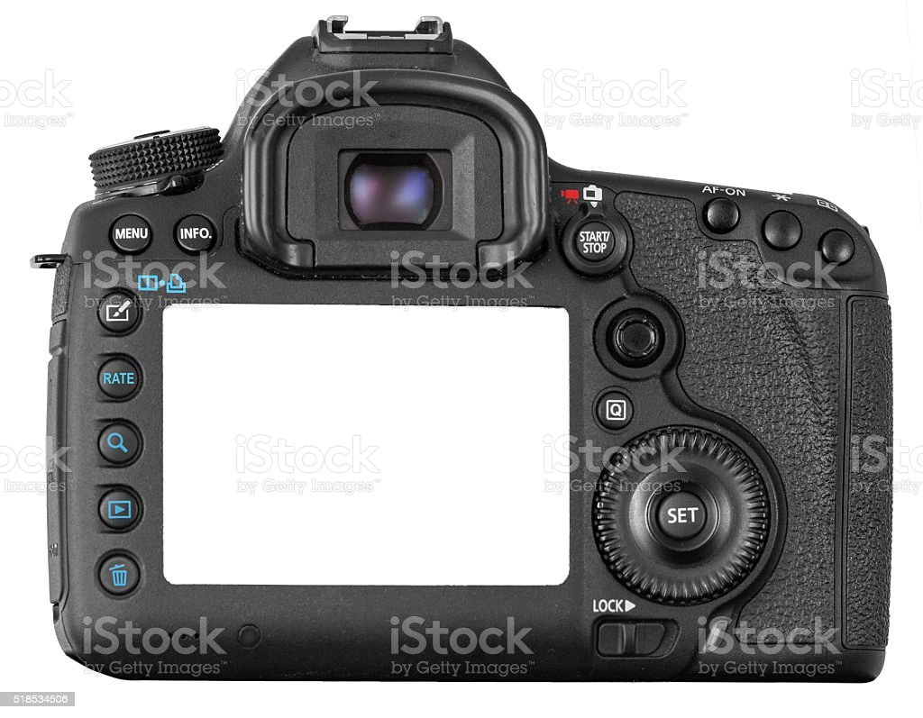 DSLR camera isolated on white stock photo