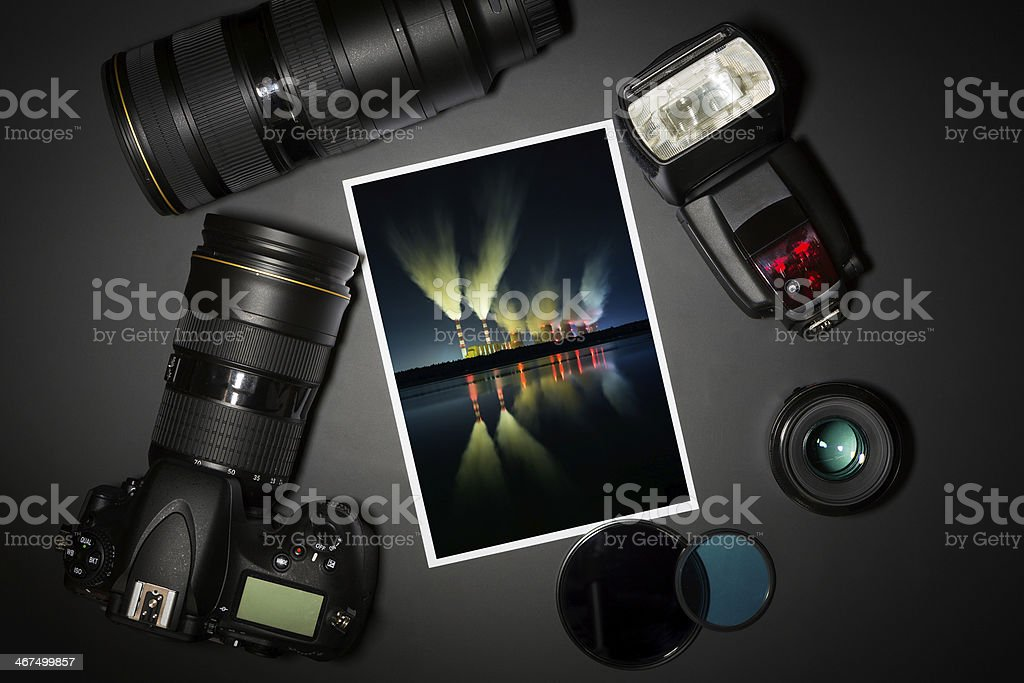 camera lens and image on black background stock photo