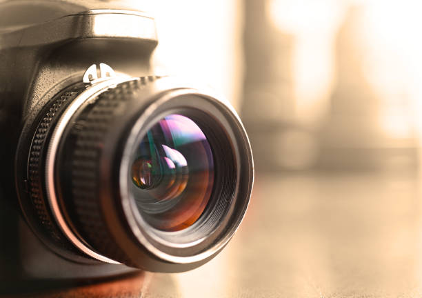 Camera lens and photography equipment stock photo