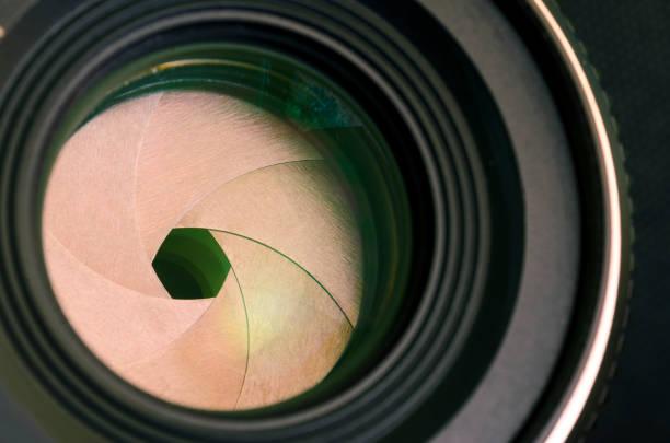 Camera lens aperture close-up