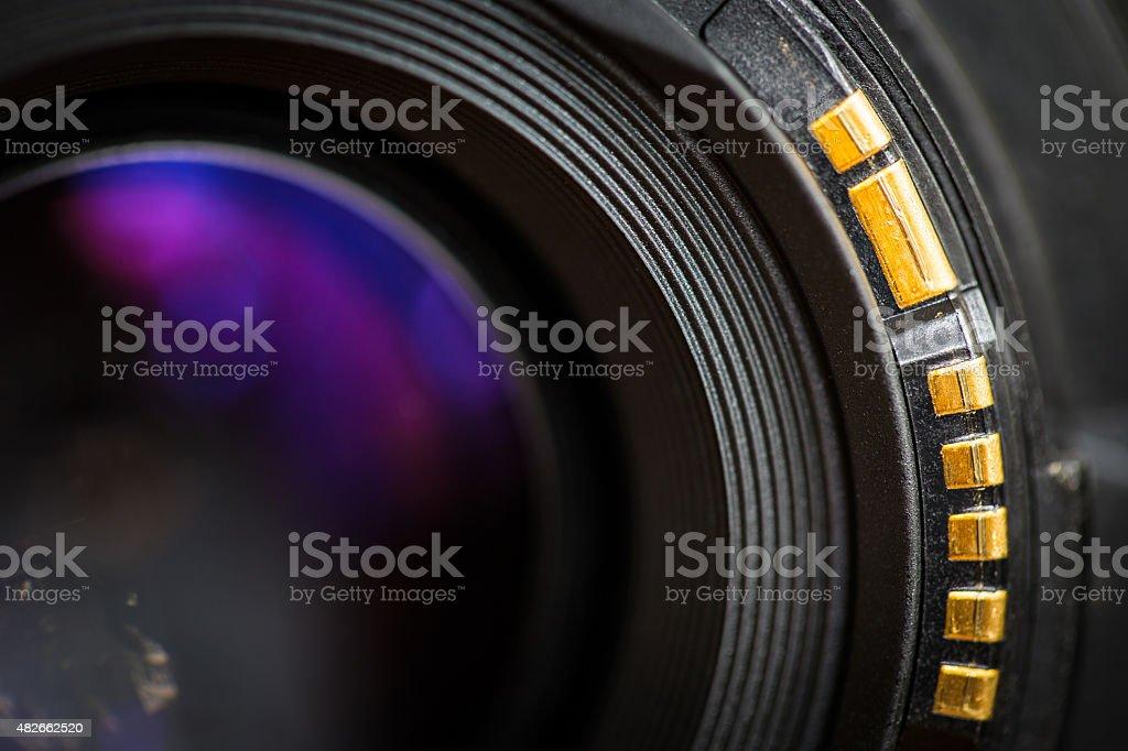 Camera lens back sight. stock photo