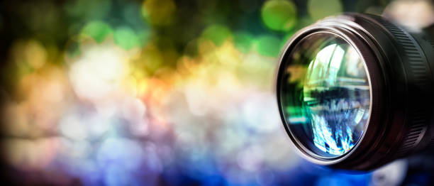 Camera lens background with copy space stock photo
