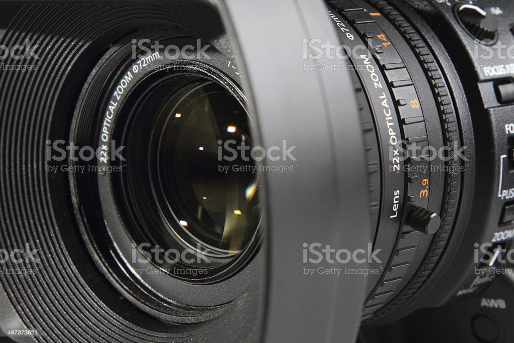 Camera lens close up stock photo