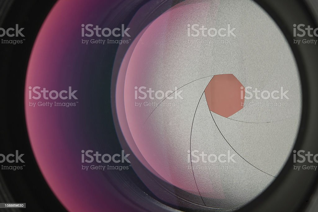 Camera lens close-up stock photo