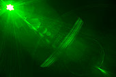 istock Camera lens flare hexagons created by laser light. 1042824488