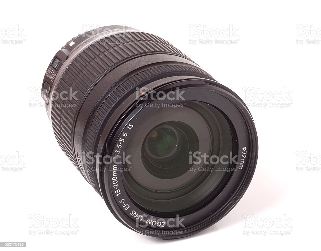 camera lens isolated on a white background closeup stock photo