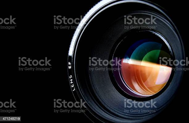 Camera Lens Isolated On Black Stock Photo - Download Image Now