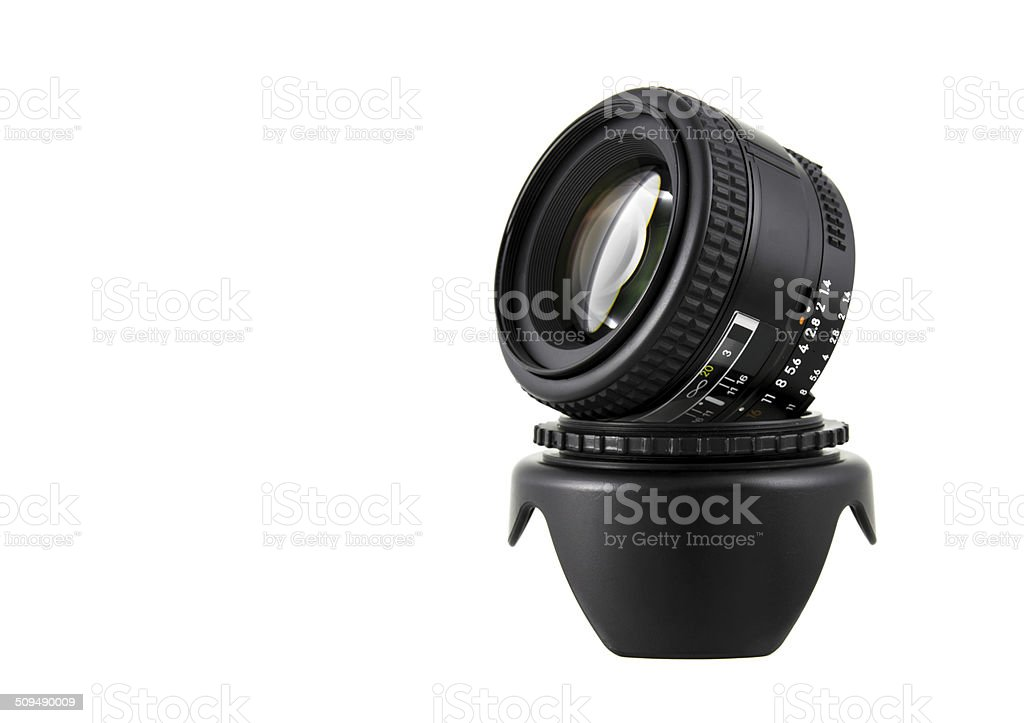 Camera lens on hood. stock photo