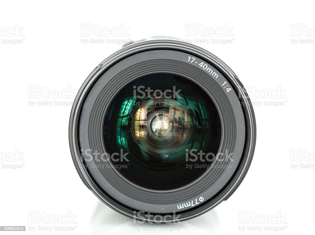 Camera lens on white background stock photo