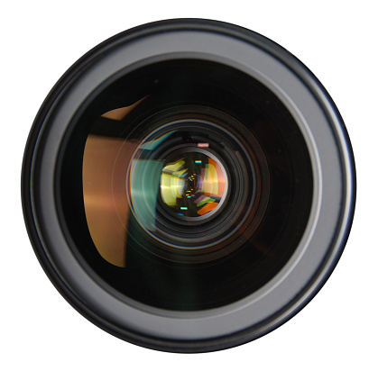 Camera lens reflections in glass