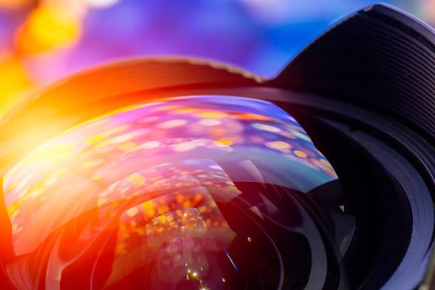 camera lens super wide angle curve front glass lens colorful reflection for photography media production background. - soczewka gałka oczna zdjęcia i obrazy z banku zdjęć