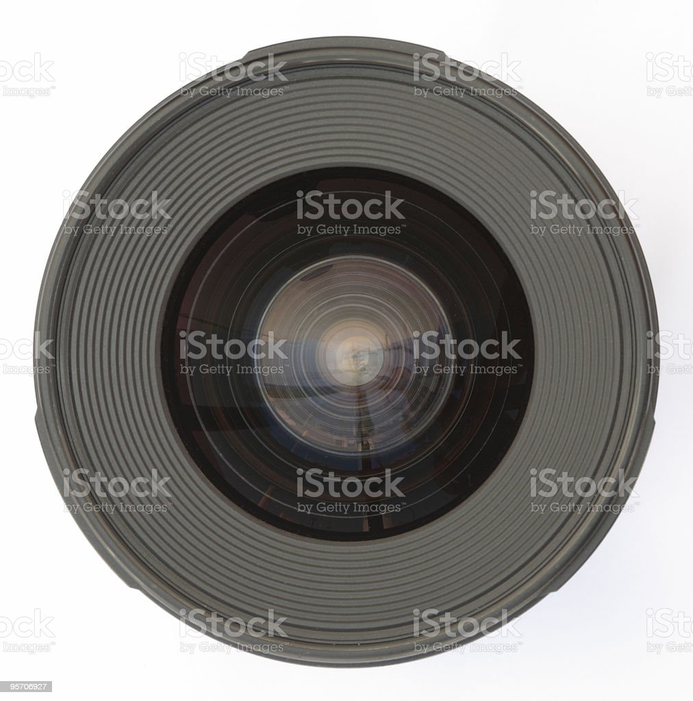 Camera lens - top view isolated stock photo