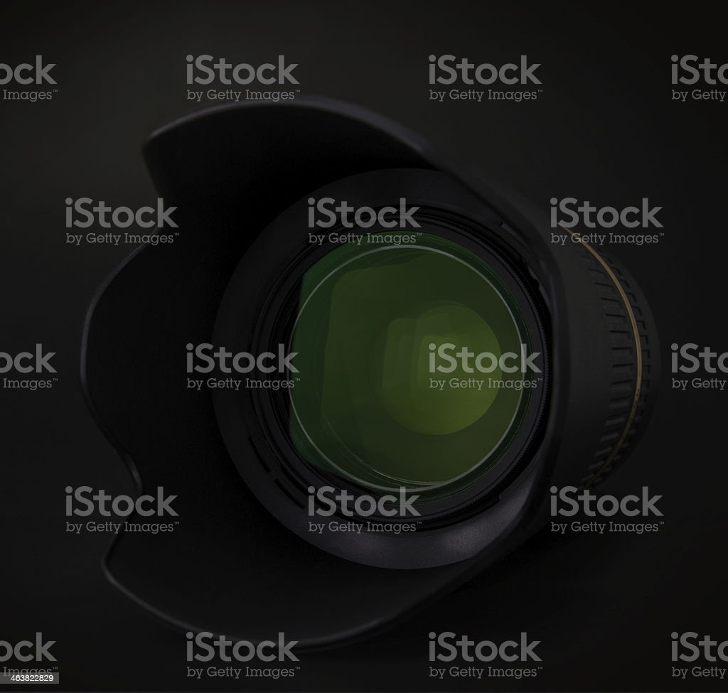 Camera lens with hood stock photo