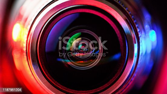 Camera lens with red and blue backlight. Macro photography lenses. Horizontal photography