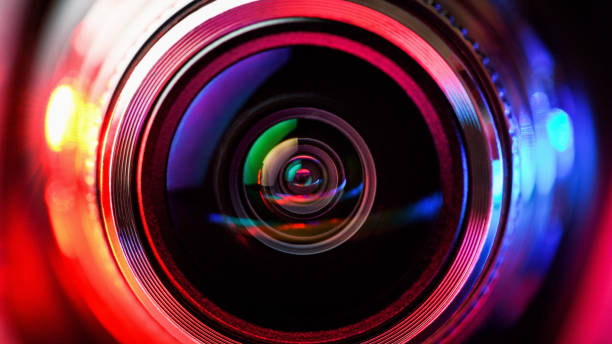 camera lens with red and blue backlight. macro photography lenses. horizontal photography - webcam stock pictures, royalty-free photos & images