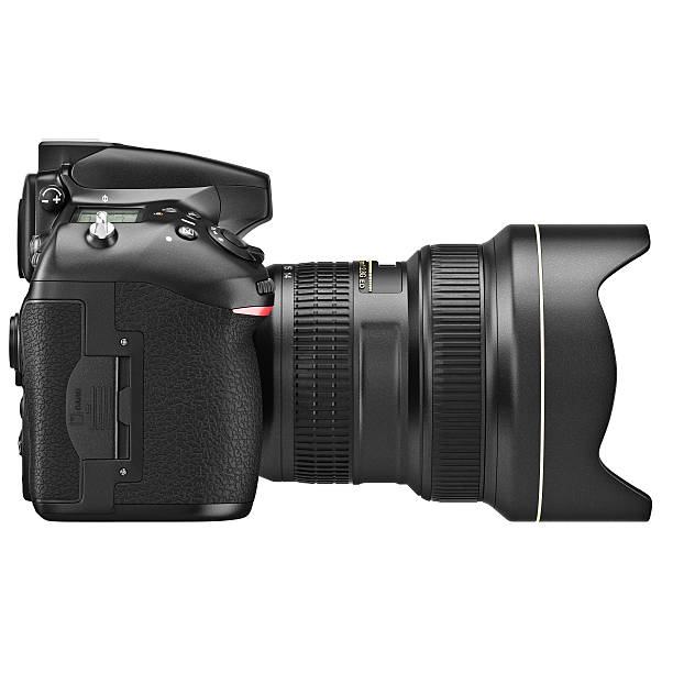dslr camera, lens zoom, side view - telelens stockfoto's en -beelden