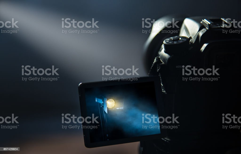 DSLR camera making video in studio stock photo