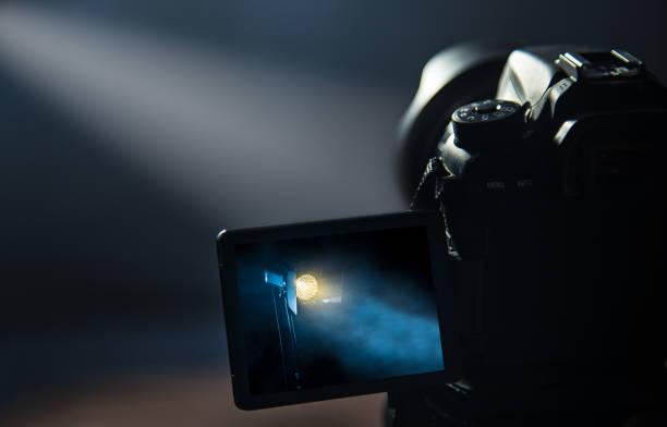 DSLR camera making video in studio stock photo