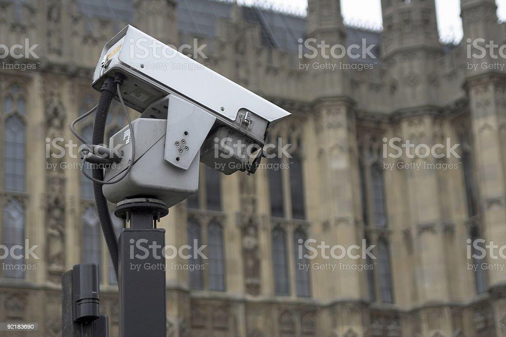 CCTV camera near historic building royalty-free stock photo