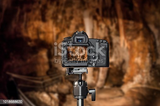 Tripod photography with a modern DSLR, background is blurred.