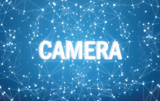 Kamera auf digitale Schnittstelle und Blaues Netz Hintergrund – Foto