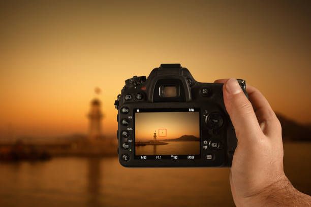 camera on man's hand - digital viewfinder stock photos and pictures