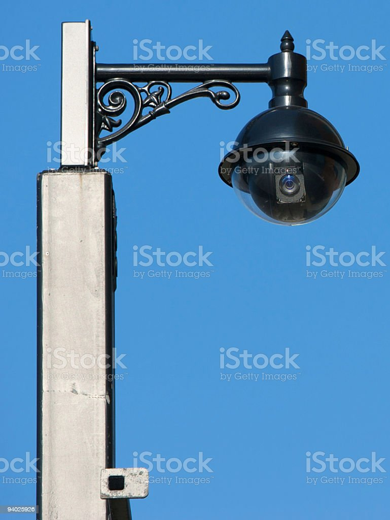 CCTV Camera on ornate post in Street royalty-free stock photo