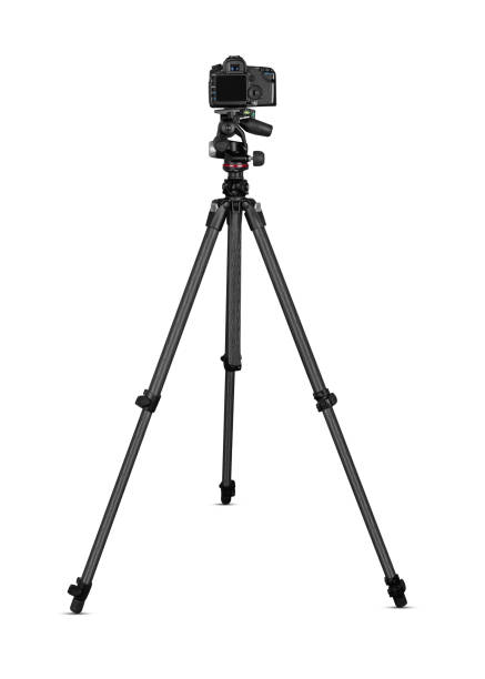 Camera on tripod stock photo