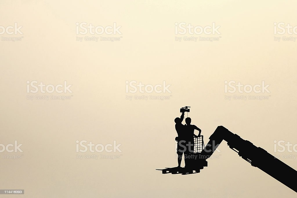 Camera operator and journalist at work stock photo