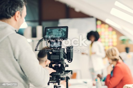 iStock and Getty exclusive videographer shooting new creative content with professional equipment. Selective focus to monitor/recorder. *Video files from shooting will be online soon