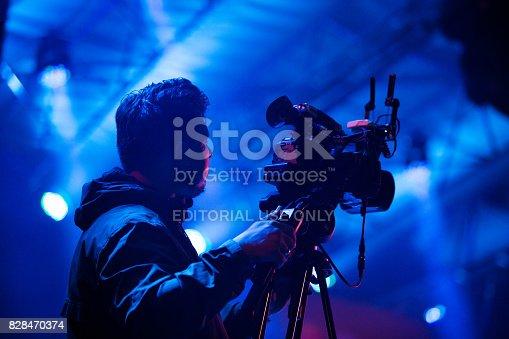 Camera operator translating live concert on music festival in Kaliningrad