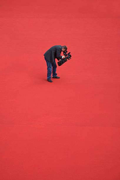 Camera operator on red carpet stock photo