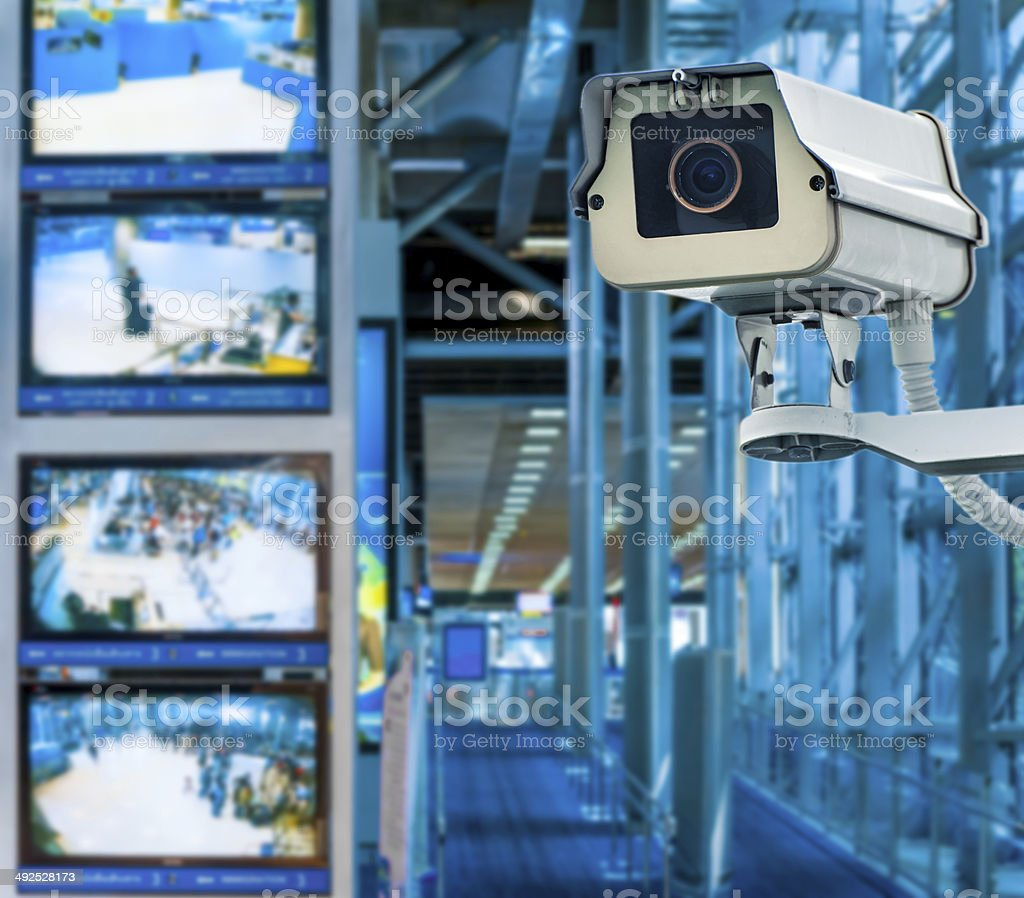 CCTV Camera or surveillance operating with monitor in background stock photo