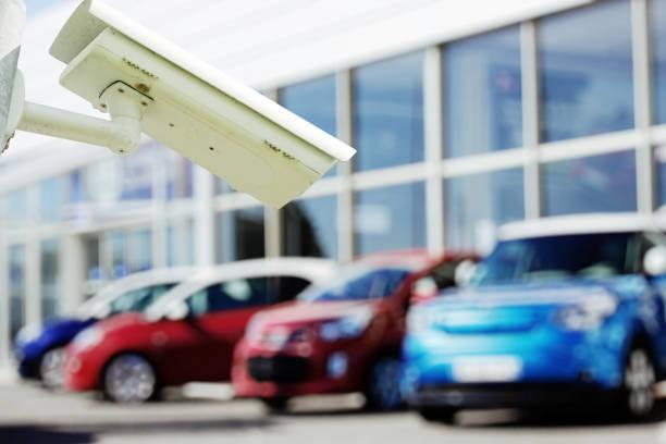 CCTV camera or surveillance system for car dealer monitoring - foto stock