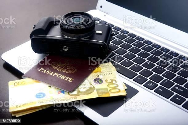 Camera passport and philippine peso bills on a laptop computer picture id842726520?b=1&k=6&m=842726520&s=612x612&h=cvcd94i0z8 2rhwooldit 8wulen0byxm7ja jdbbli=