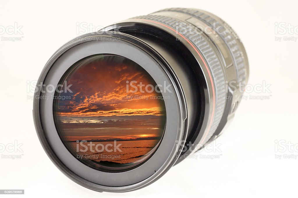 Camera photo lens over white background stock photo