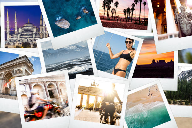 Camera prints of an year full of memories around the world stock photo