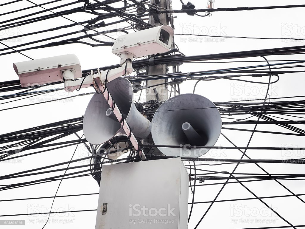 CCTV camera security and vintage horn speaker with cables stock photo