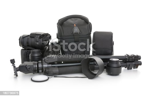 Close up of a photography equipments on white background, studio shot